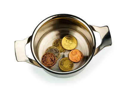 budgetary: a few euro coins in a saucepan, symbol photo for sovereign debt and financial needs