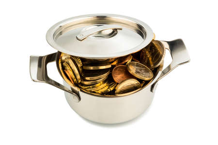 subsidize: a cooking pot is well filled with euro coins, symbolic photo for funding