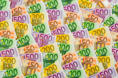yield: many different euro bills. symbolic photo for wealth and investment