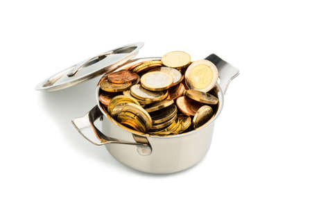 subsidize: a pressure cooker is filled with euro coins, symbolic photo for grants and subsidies