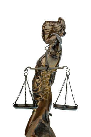derecho romano: escultura de justitia, símbolo de fotos para la equidad y la justicia Foto de archivo