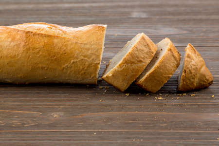 white goods: a wake of fresh white bread. food from the bakery Stock Photo