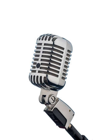 an old retro microphone against white background. photo