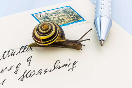 deliverable: a snail on a letter. symbolic photo for slow breifzustellung. smail Stock Photo