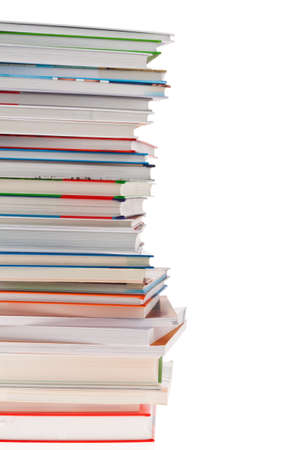 stacked books: stack of books. isolated and isolated against a white background