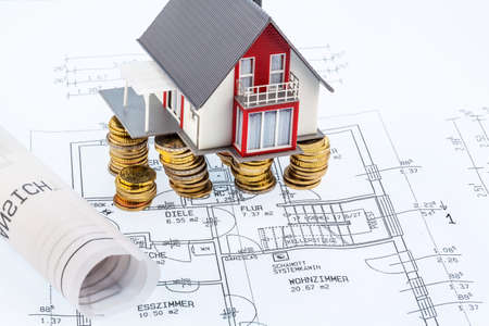 single familiy: residential house on blueprint symbol photo for house construction, financing, building society Stock Photo