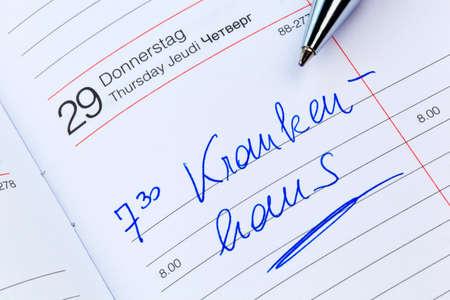 klinik: a date is entered on a calendar: hospital