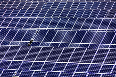 photovoltaic power station: solar panels, symbol photo for alternative energy and sustainability Stock Photo