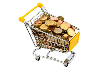 purchasing power: a shopping cart is filled with euro coins, symbolic photo for purchasing power, inflation and consumer Stock Photo
