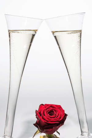 birthday champagne: champagne or sparkling wine in a champagne glass with red rose. symbolic photo for celebration, wedding anniversary, valentines day, birthday.