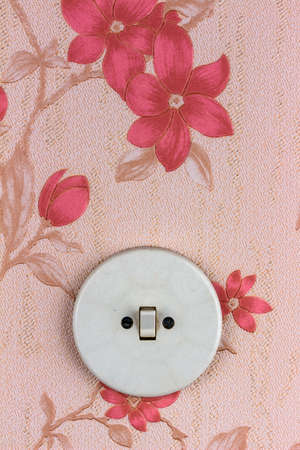 an old wallpaper with light switch. symbolic photo for renovation and remodel. photo