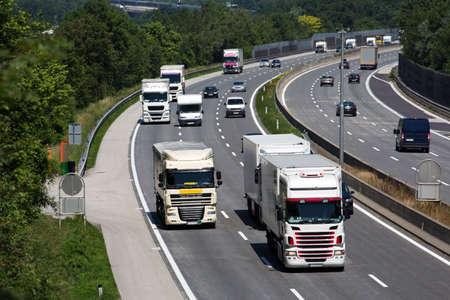 trucks on a three-lane motorway photo