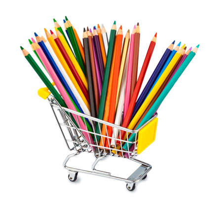 different color pencils in a shopping cart photo