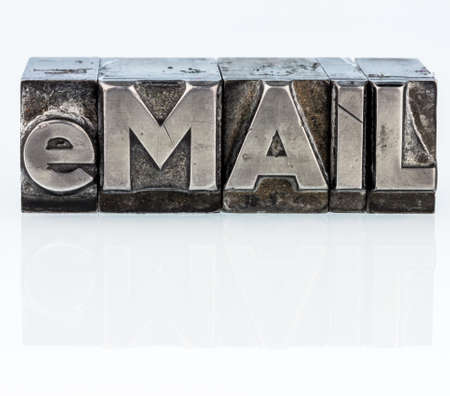 the word e-mail in lead letters written