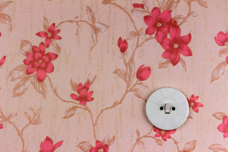 an old wallpaper with light switch photo