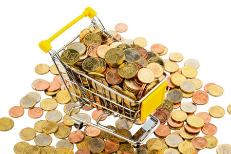 stocked: a shopping cart is well stocked with euro coins