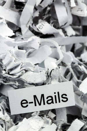 scandals: shredded paper tagged with e-mails