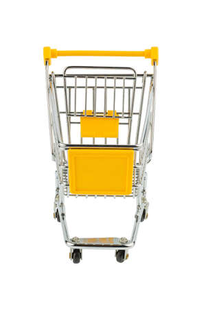 grocers: an empty shopping cart on white background