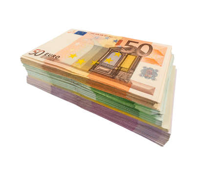 assessment system: many different euro bills Stock Photo