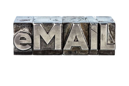 edv: the word e-mail in lead letters written