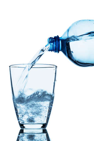 hydrology: water being poured into a glass Stock Photo