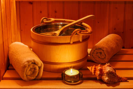 sauna: cosy atmosphere in the sauna in a spa area of ??a wellness hotel. recreation and relaxation from everyday life.