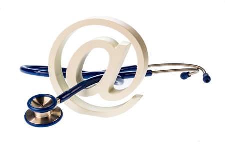 an email sign and a stethoscope on a white background photo