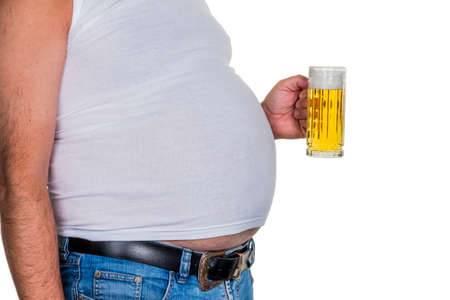 kilo: man with overweight. symbolic photo for beer belly, unsuccessful diets and poor diet.