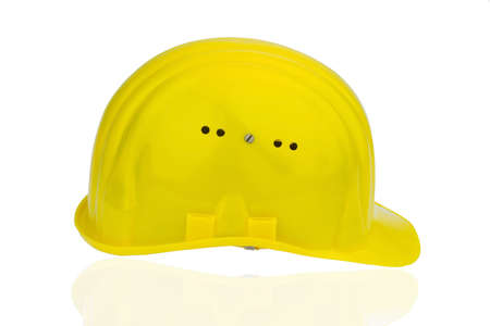 collective bargaining: yellow industrial safety helmet, icon photo for work, labor protection and accident prevention