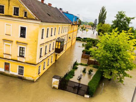 linz: flood of 2013. linz, austria. inundation and flooding.
