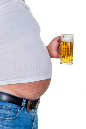 overweight man: man with overweight. symbolic photo for beer belly, unsuccessful diets and poor diet.