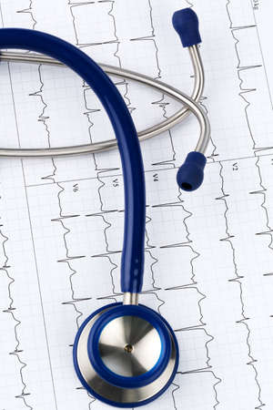 physicans: stethoscope and electrocardiogram, symbol photo for heart disease and diagnosis Stock Photo