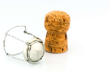 solemnity: clasp and champagne corks, symbol photo for celebrations, enjoyment and consumption of alcohol