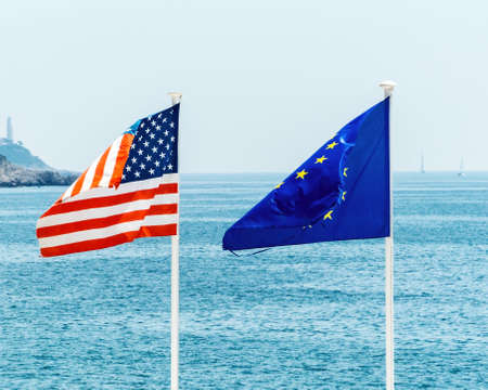 flags of the european union and the united states, symbolic photo for, diplomacy, foreign policy Reklamní fotografie
