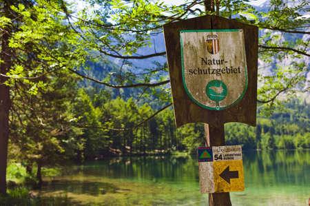 flatly: sign, nature reserve, langbathsee, salzkammergut, austria Stock Photo