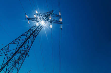 electricity supply: pylon, symbolic photo for energy production, supply and electricity network