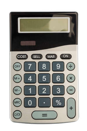 accounted for: a calculator lies on a white background Stock Photo