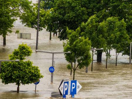 overflows: flood of 2013. linz, austria. overflows and flooding