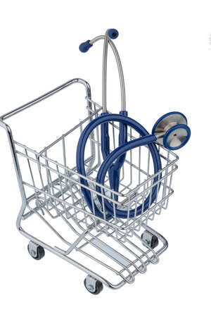 physicans: stethoscope and shopping cart, symbol photo for the medical profession and practice acquisition
