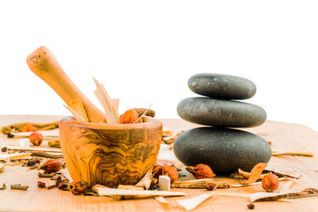naturopathy: ingredients for a cup of tea in traditional chinese medicine. cure of diseases by alternative methods. Stock Photo