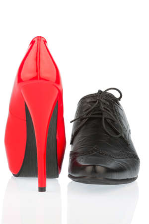 high contrast: ladies shoes and mens shoes, symbol photo for partnership and equality Stock Photo