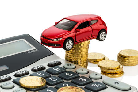 car and calculator. rising costs for buying a car, leasing, workshop, refueling and insurance