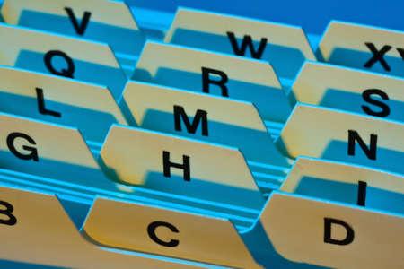 alfabetische index voor het sorteren van kaarten. adressen van klanten en patiëntgegevens. Stockfoto