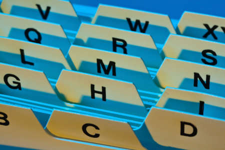 alphabetischen Index für die Sortierung Karten. Kundenadressen und Patientendaten.