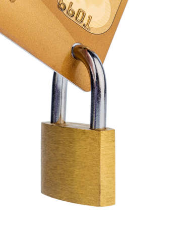overdraft: a golden credit card and padlock. symbolic photo for cashless purchases and status symbols. Stock Photo