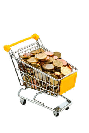 a shopping cart is filled with euro coins, symbolic photo for purchasing power, inflation, consumption photo