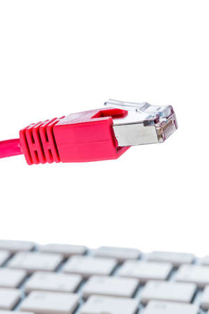 network cable to keyboard, symbol photo for flat rate, e-commerce, global communication photo