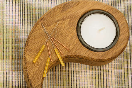 several needle for acupuncture are adjacent. traditional chinese medicine (alternative medicine). photo