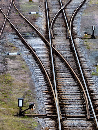 separate: soft rails on a railroad. symbolic photo for decision, separation and community