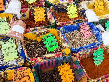 refine: variety of spices on the market. fresh spices refine each dish. Stock Photo